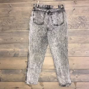 80's black acid washed bonjour jeans